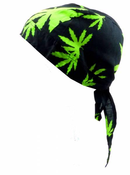 Kopf-Tuch Herren Damen Kopftuecher schwarz mit Motiv Hanf Kinder Junge Mädchen Kopftücher black Cannabis green Bandana Zantana Headscarf Bandannas für Kinder und Erwachsene (Cannabis) 1788