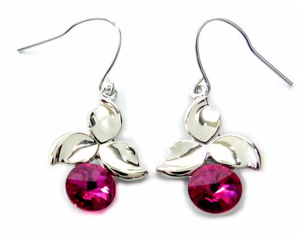 Tillberg Ohrringe silber mit Swarovski-Steinen pink Haenger Ohrring Set der Oberklasse! Hanging Earring Swarovski Stones (PINK CHERRY) 5309