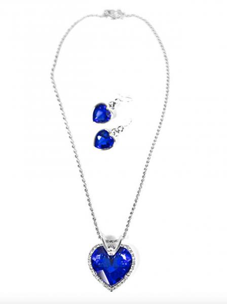 Damen Titanik Herz Halskette Ohrringe Set Ozean blau
