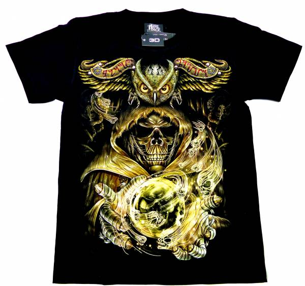 T-Shirts schwarz 3D Herren Damen Motiv: Magischer Totenkopf Kugel-Eule Design Party Shirt schwarz Karneval Fasching 3D Hemd Glow in the Dark Halloween Theme: magic Skull Bowl-Owl Shirt leuchtet im dunkeln Größe: M 5220