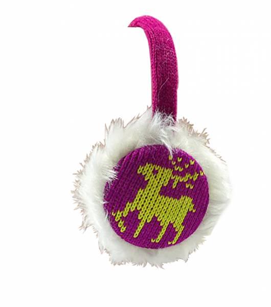 Damen-Ohrwärmer mit Kopfhörer Ohren-Schützer pink inkl. Lautsprecher weich mit Fell (rentier)