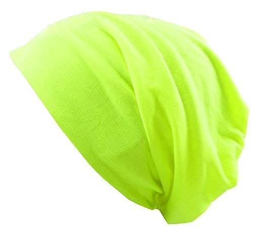 Muetze 3067 viele Stoffmützen Long Beanie Urban Beanie Classic Chill Wear Summer (neon gelb)