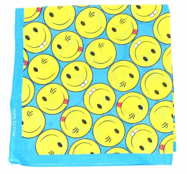Maske-Schal waschbar Nickituch blau mit Motiv gelb Funny Design 54cm