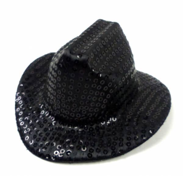 Hut Damen Herren Fasching Karneval mini Huete schwarz 13x4cm glitzer Cowboy Hat Fasching Halloween Party Cap (SCHWARZ) 3953