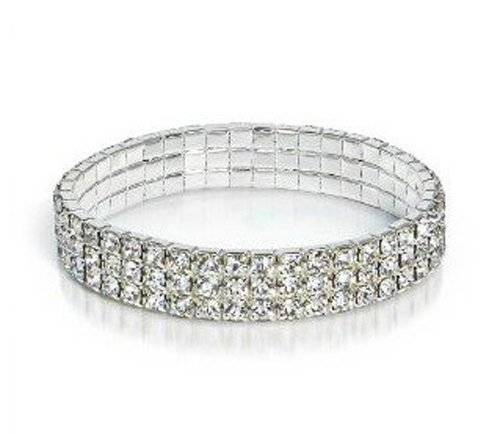 Damen Armband Silber Plattiert Kristall 3-Reihe Strassstein