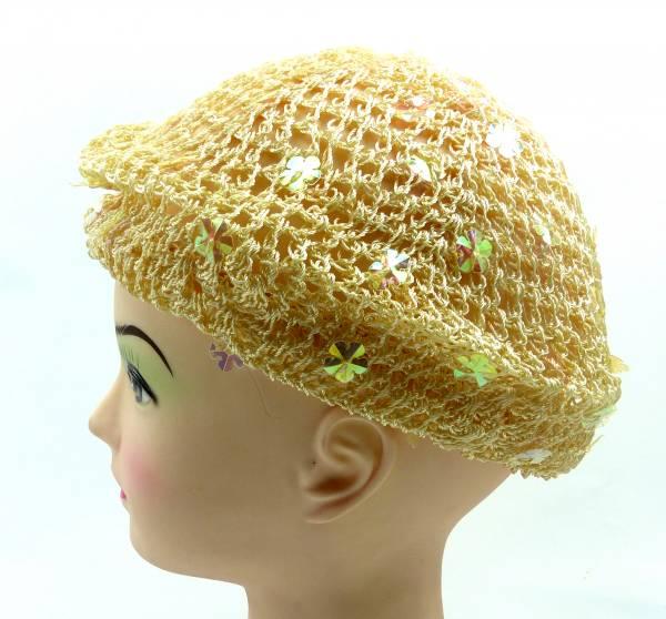 viele 50er Jahre Stoff Hut Haar Schmuck 4338 Kopf Tuch Haekel Muetze (beige)