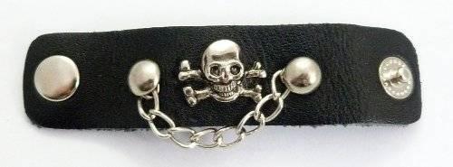 Ring 2189 Leder Finger-Ring Totenkopf mit Kette Skull Leather Ring Chain