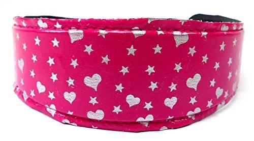 Haar-Reif 3828 Haar Klammer Haarreifen pink mit süßen Herzchen Stern Design H8