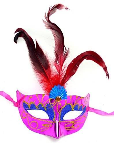 Masken Herren Damen Feder Maske Pink elegant mit roter Feder venezianische Karneval-Gesichts-Maske Fasching-Feder-Mask (#2P-R) 1544