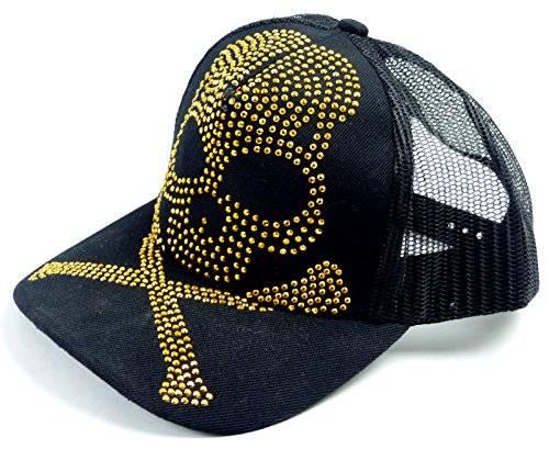 viele Killer Caps Totenkopf CapSchirmmützen Skull Caps Nieten besetzt (schwarz)