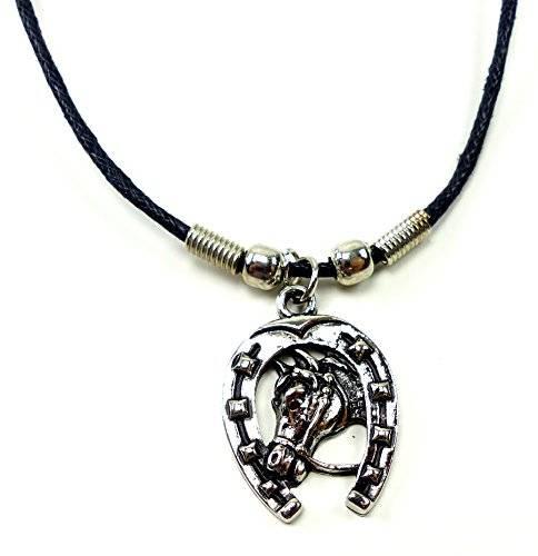 Echtleder Halskette mit Hufeisen Anhänger Edelstahl UX-8