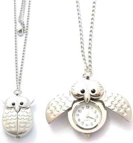 Uhren 516 edle Ketten Uhr Umhänge-Uhr in Silber Eule Filou