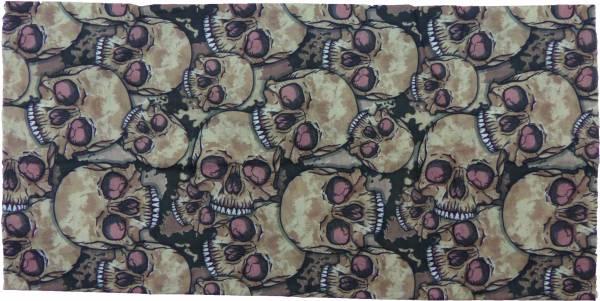 Nickituch Stoff-Mütze 15fach Universal Tuch braun Motiv Totenkopf Herren Damen Beanie Cap brown Skull Halstuch Mundschutz Universal Bandana Kopftuch Biker Halstuch Totenkopf Beanie Killer Mütze Armband 4966