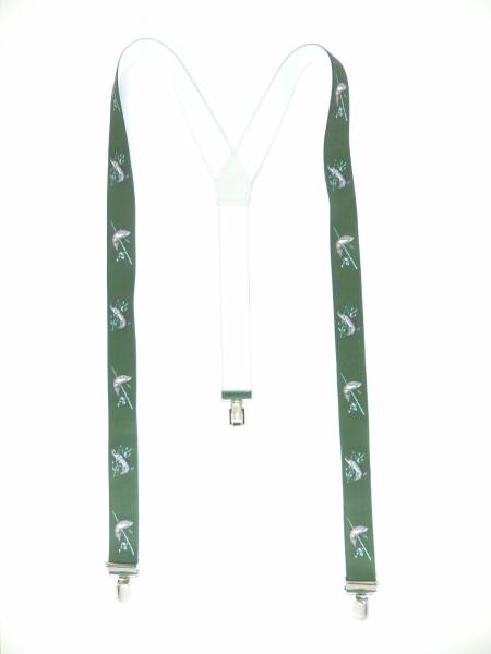 Hosenträger grün Forelle-Hecht Angel Motiv Fischer-Angler Suspenders green Design, mit 3 Clips, 3,5 cm