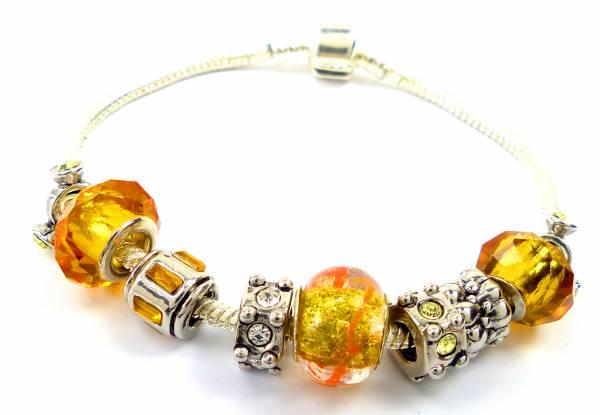 Armband 4550 Beads Armbaender silber Designer Charms in einzigartiger Zusammenstellung Yellow Star