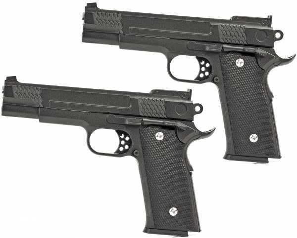 Doppelpack Softair Gun Airsoft Vollmetall Federdruck Pistole 1:1 ca. 19cm Inkl Magazin 0,5 Joule Gürtel-Holster