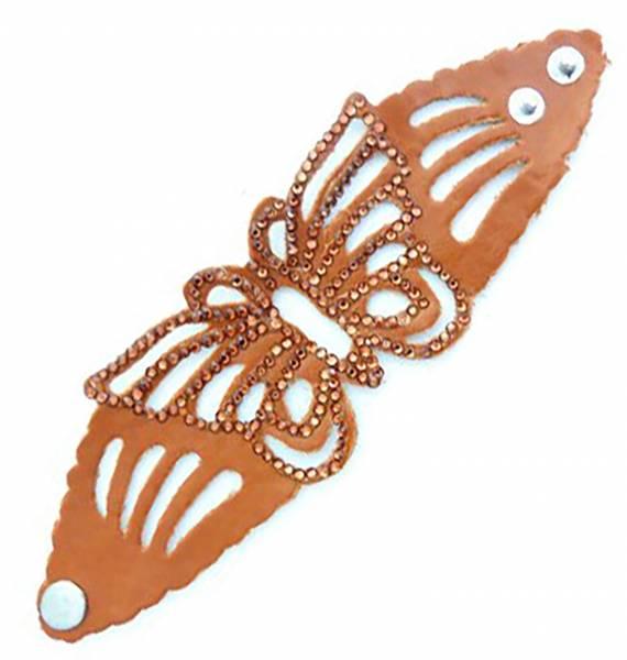 Damen-Armband braun Schmetterling Spalt-Leder mit Strassbesatz VIELE FARBEN (braun) 2323