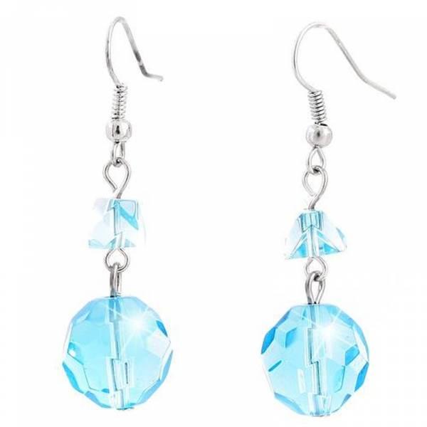 Damen-Ohrringe türkis Hänger Damen-Ohrring Set 2Stk Edelstein Schliff 1cm Durchmesser Women Earring-Set light-blue 5321