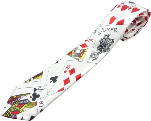 Krawatte Herren Damen Krawatten schwarz Karten Motiv Schlips Binder Karten Motiv Schlips schwarz - Poker Star 4516