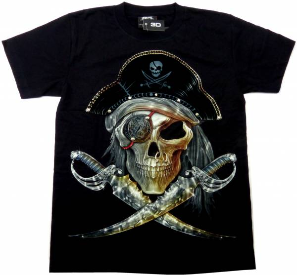 T-Shirts schwarz 3D Herren Damen Totenkopf Piraten Säbel Design Party Shirt schwarz Karneval Fasching 3D Hemd Glow in the Dark Halloween Theme Skull Pirat Sword Shirt leuchtet im dunkeln Größe: XL 5244