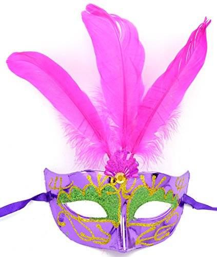 Masken Herren Damen Feder Maske lila elegant mit lila Federn venezianische Karneval-Gesichts-Maske 3052 Fasching-Feder-Mask (#3L-P)