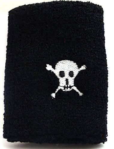 Armband 3517 Schweiss Band 2 Stk Totenkopf Armbaender 1 Paar Totenkopf Schweissband Sweat Band  Black Skull