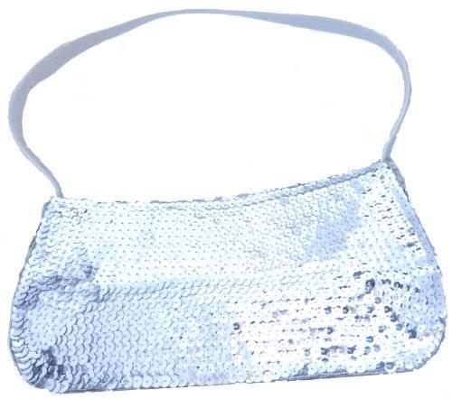 Damen Handtasche 1751 Pailletten Handtasche 26cm (SILBER)