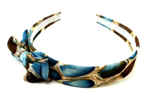 Haarreif im klassischen retro-Look und Schleife braun blau O81