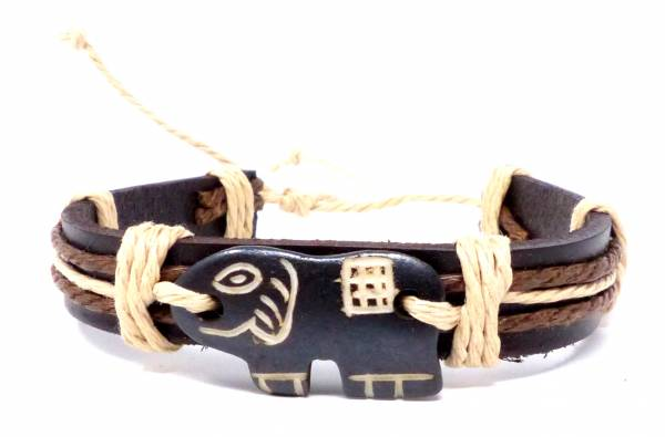 Armband Herren Damen Leder Armbänder Handmade - Elephant