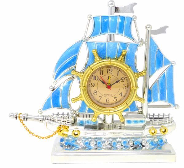Schiff-Uhr Stand-Uhren Segelschiffe silber-blau