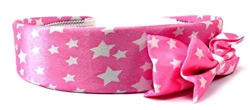 Haarreif 3208 Haar Spange rosa mit Schleife und samtigen Bezug Sternchen weiss H16