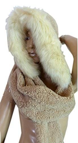 Cosplay-Wintermützen-Set-Winter-Muetze-Schal-Handschuhe-Winterset (beige-braun)