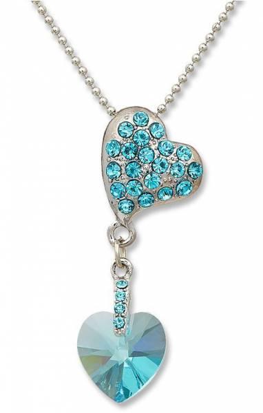 Swarovski-Sein Halsketten türkis Herz Kette Damen Schmuck Silber Swarovski Elements Heart Chain (türkis) B1W2 1537