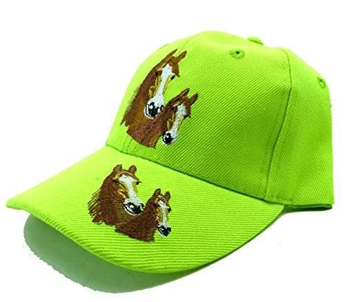 Mütze Kinder Cap Mützen Pferde Cappy Schirm Retro Mütze aus Baumwolle (neon grün)