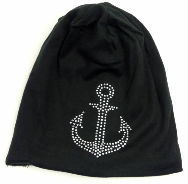 Winter-Mützen Herren Damen-Beanie gefütterte Sturm-Mütze Anker XL-Design Stoffmütze Beanie-Hat Urban Beanie Chill Wear Winter Anchor