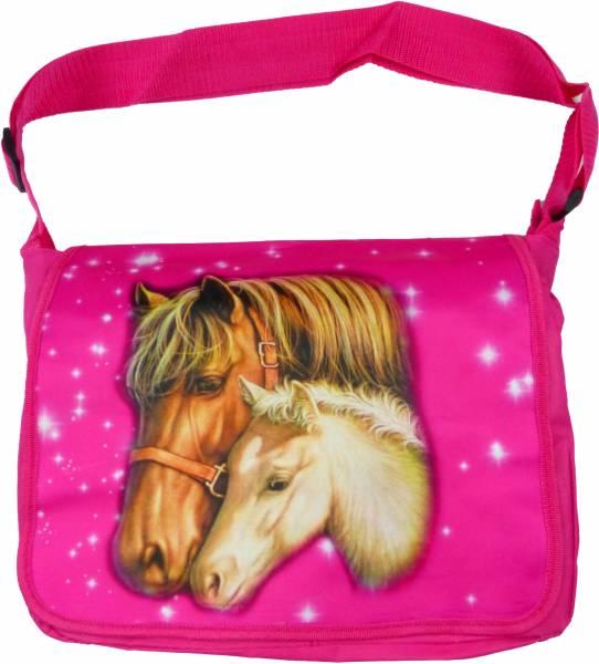 Tasche Handtasche Pink Damen und Mädchen Schulter-Tasche Pferde Motiv Schul-Tragetasche Laptop Umhänge-Tasche Woman Girl Horse Bag (PINK) 4526