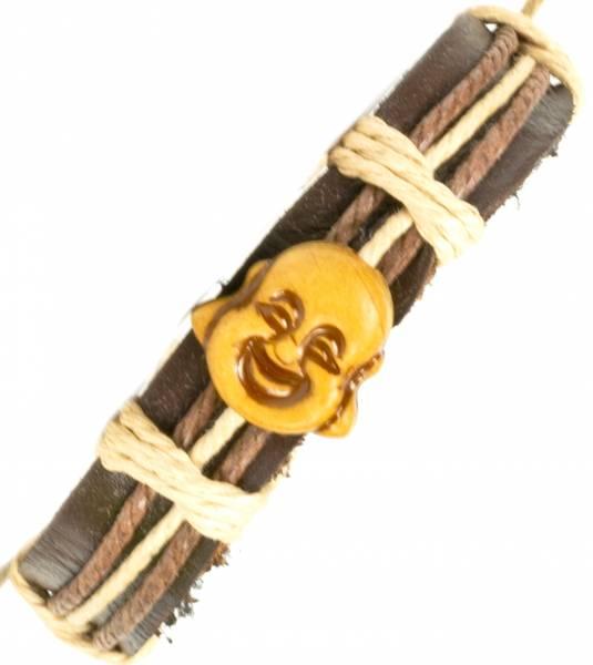 Herren Leder Armreifen Schmuck Armband Vintage Einstellbar Surf Armkettchen Motiv Buddha Kopf