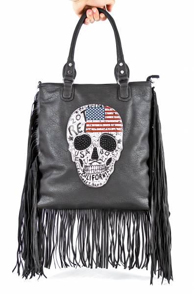 Damen-Handtasche schwarz Totenkopf-Motiv USA-Flagge