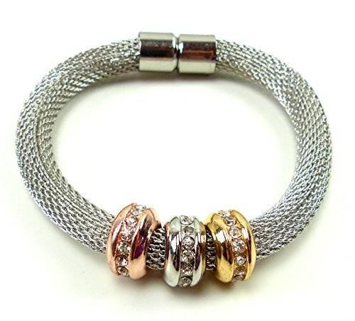 edle Designer Damen Armbänder mit Strass Beads Modell -betterOne- viele Modelle (silver S)
