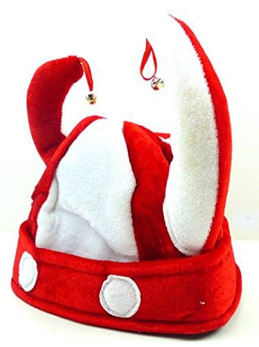Fasching Mütze Herren Damen Karneval  Wickinger Helm Stoff Mütze rot Halloween Spass Mützen mit Glöckchen Wicking Hat with Bells (ROT) 2198
