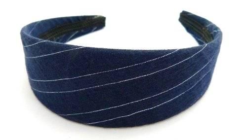 Haarreif klassisch dunkel blau mit zartem Silberstreifen O63