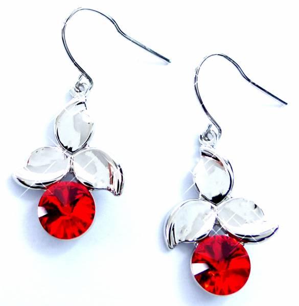 Tillberg-Ohrringe silber mit Swarovski-Steinen Haenger-Ohrring Set der Oberklasse! Hanging Earring Swarovski Stones (RED CHERRY) 5310