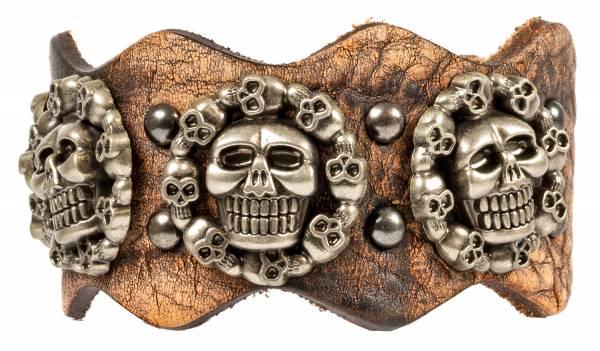 Premium Totenkopf-Armband Leder-Armband Edelstahl Echtlederarmband für Männer in Braun