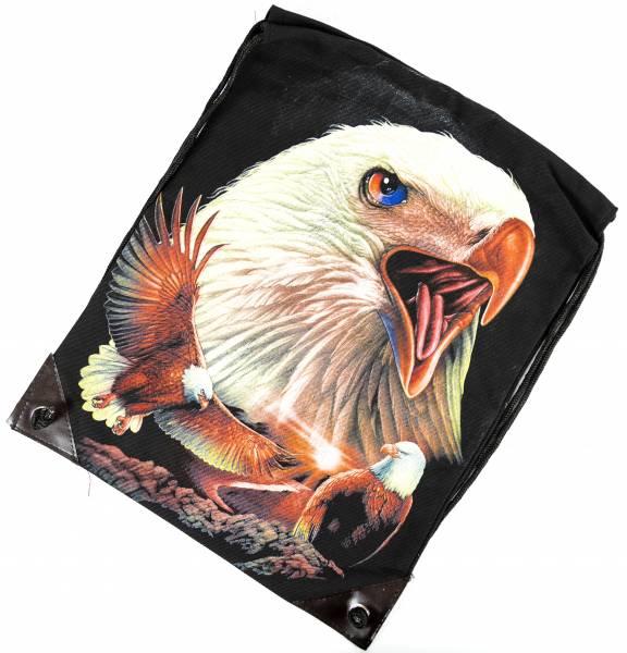Herren Damen Rucksack Beutel Tasche schwarz Adler Motiv