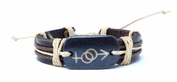 Armband Herren Damen Leder-Armbänder Handmade - Uni-black