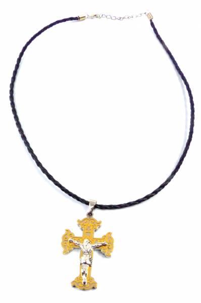 Kette-Herren Damen-Halskette schwarz mit Jesus-Kreuz-Anhänger gold Necklace Dross Gold 5362
