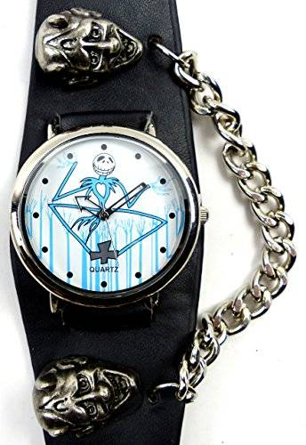 Uhr 4011 Gothic Punk Uhr seltene Armbanduhr mit Kette und Kopf Nieten Punk Watch Evil Time