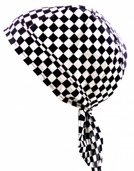 Kopf-Tuch kariert Herren Damen Kinder Kopftuecher schwarz weiss Karo klein Bandana Headscarf Punk Rock für Kinder und Erwachsene (karo klein) 4980