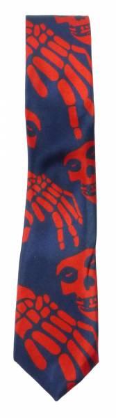 Krawatte Totenkopf Halloween-Motiv blau rot Herren Damen Krawatten Skull Binder kleines Karten Motiv Schlipse blue red Kille rSull-Theme 5343