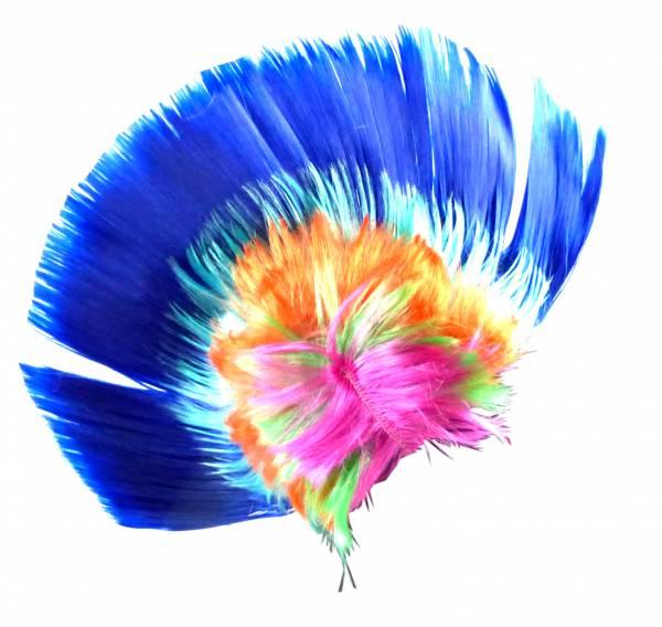 Perücke blau WM Fan-Artikel Herren Damen Haar-Ersatz Punk-Rock Fasching Halloween Frisur Karneval Neon Haar Peruecken (BLAU)